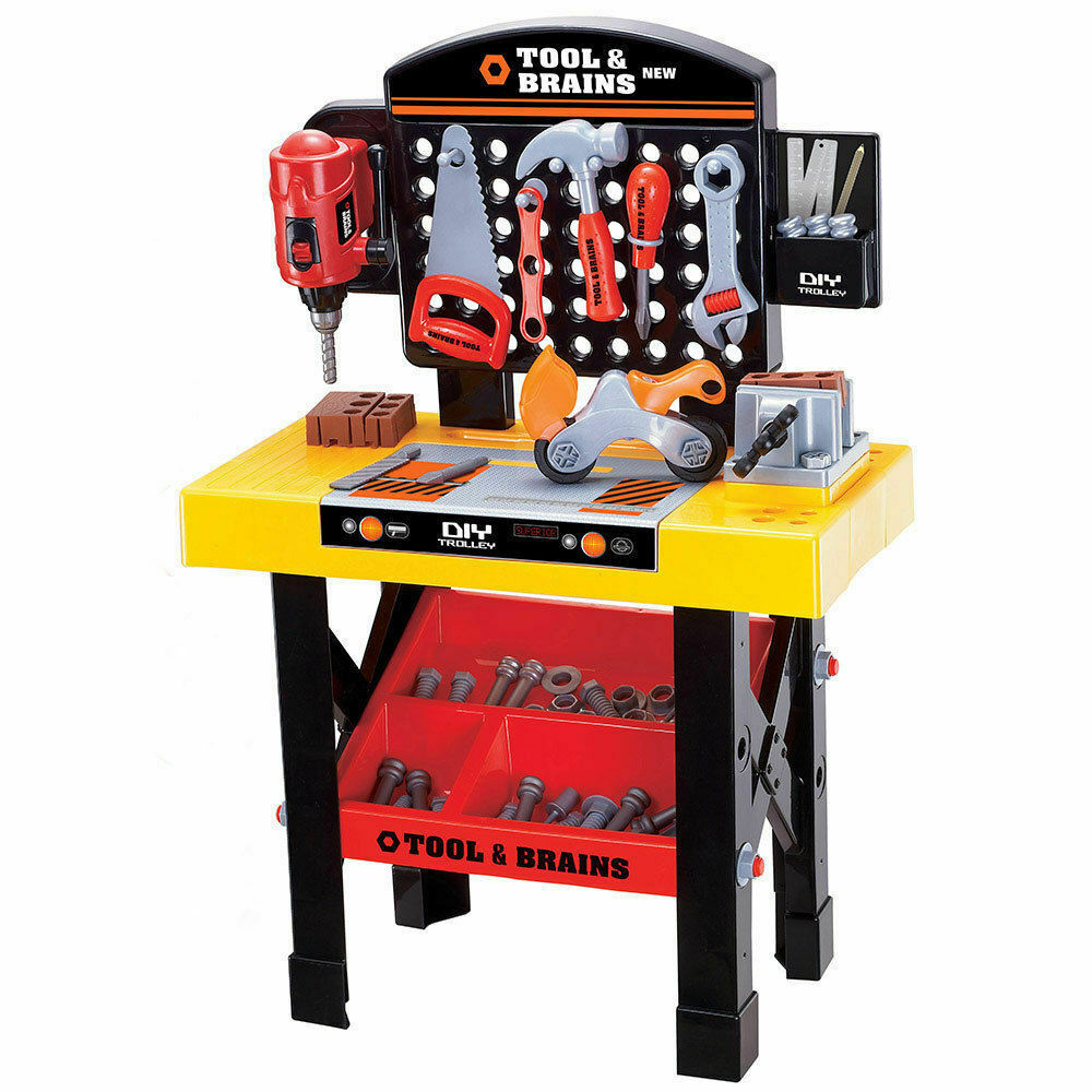 Kids Children Diy Workbench Tools Pretend Role Play Toy Set Saw Drill Hammer Nut Ebay
