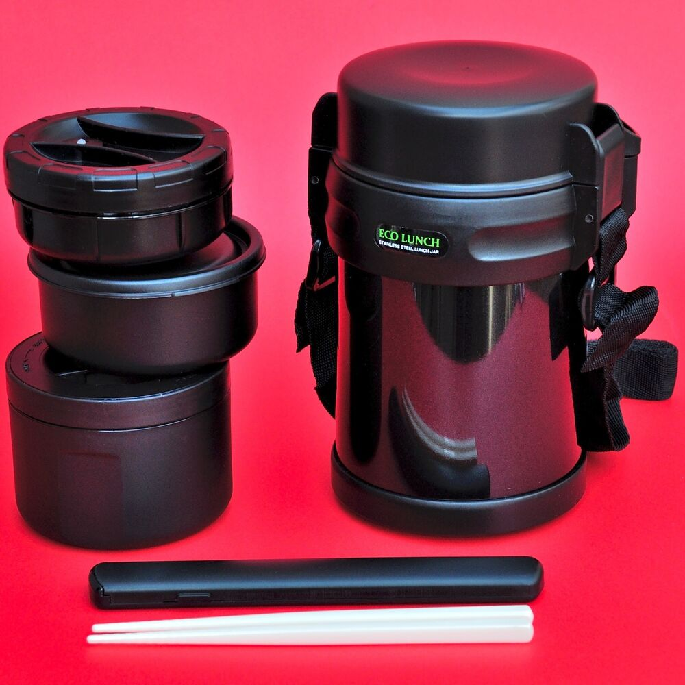 bento eco lunch box with 3 containers thermos keep warm or cold 1200ml ebay. Black Bedroom Furniture Sets. Home Design Ideas