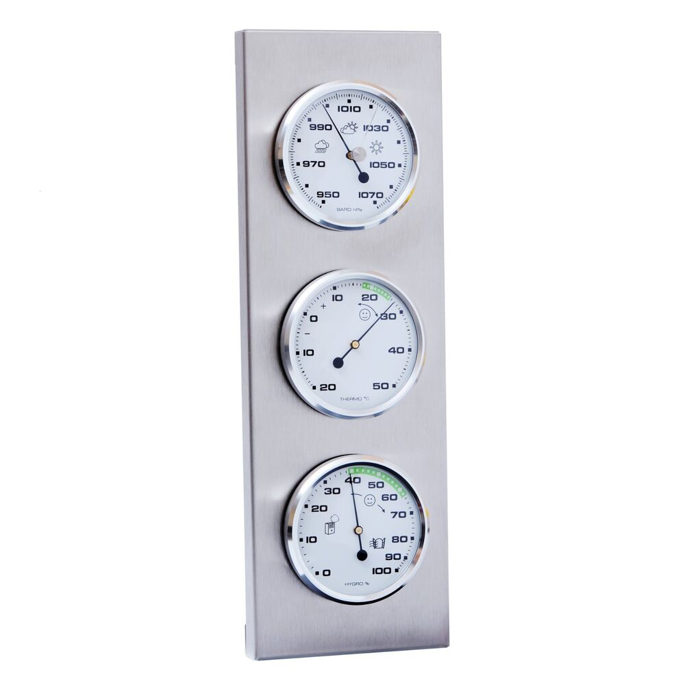 innen au en wetterstation analog thermometer hygrometer barometer edelstahl ebay. Black Bedroom Furniture Sets. Home Design Ideas