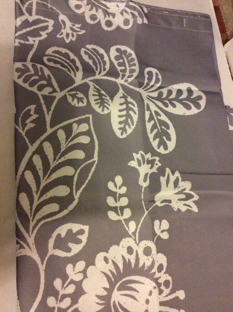 Gray Grey White Floral Leaves Bold Large Print Fabric