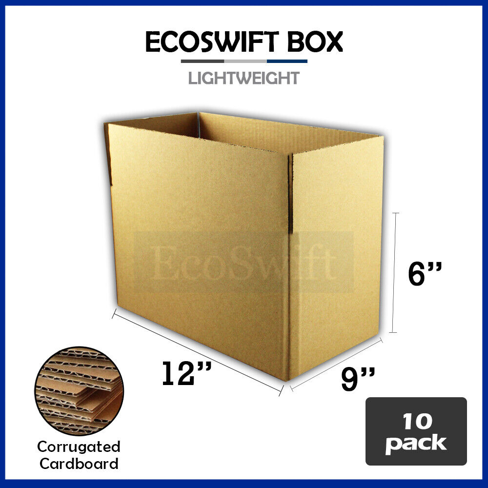 10 12x9x6 cardboard packing mailing moving shipping boxes. Black Bedroom Furniture Sets. Home Design Ideas