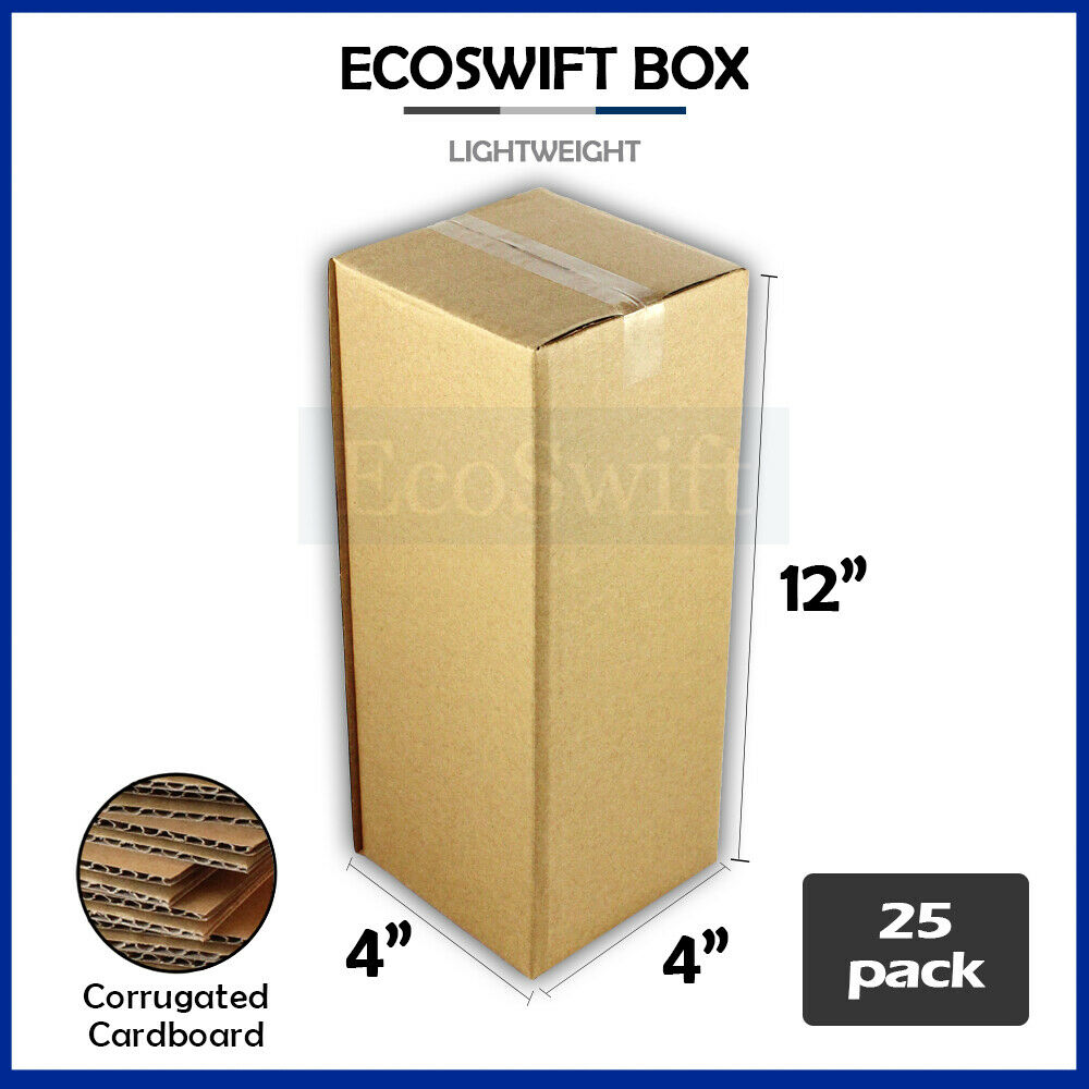 25 4x4x12 cardboard packing mailing moving shipping boxes. Black Bedroom Furniture Sets. Home Design Ideas