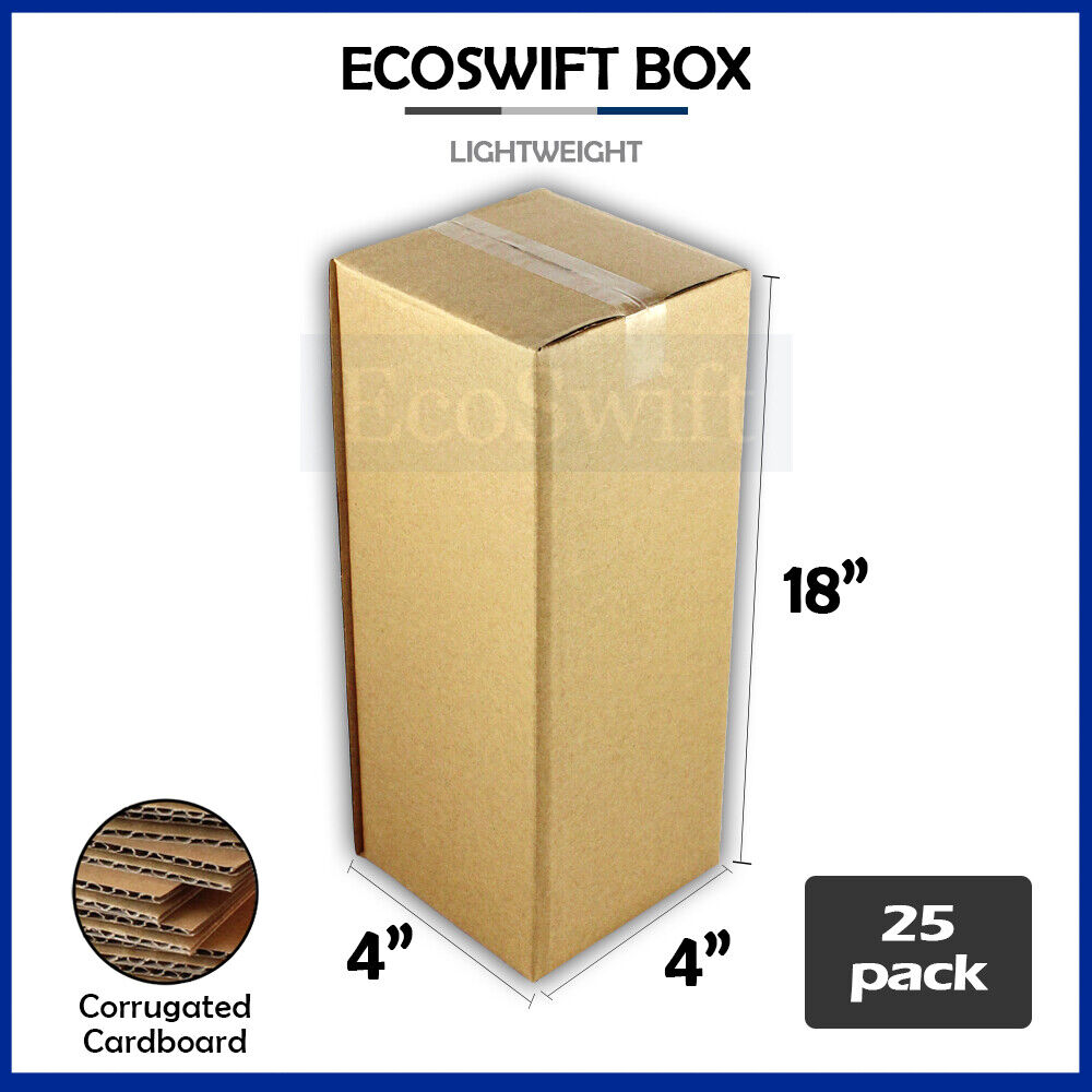 25 4x4x18 cardboard packing mailing tall long shipping corrugated box cartons ebay. Black Bedroom Furniture Sets. Home Design Ideas