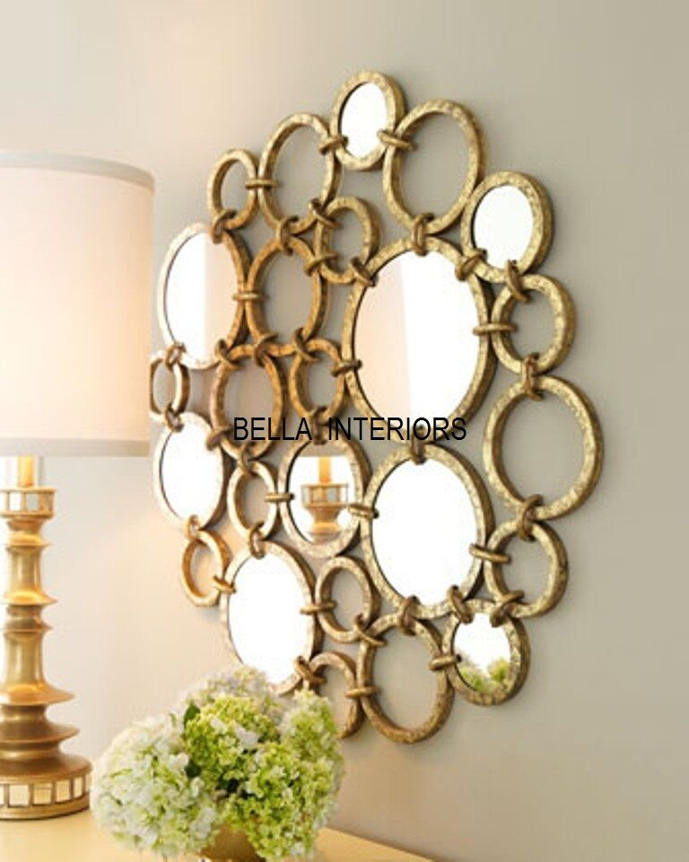 New neiman marcus metal gold mirror ring circles wall art for Mirror wall art