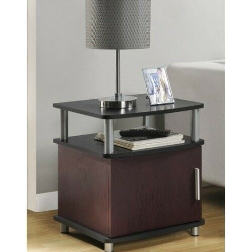 End TABLE Cherry Black Living Room Furniture Contemporary Storage Accent Tabl