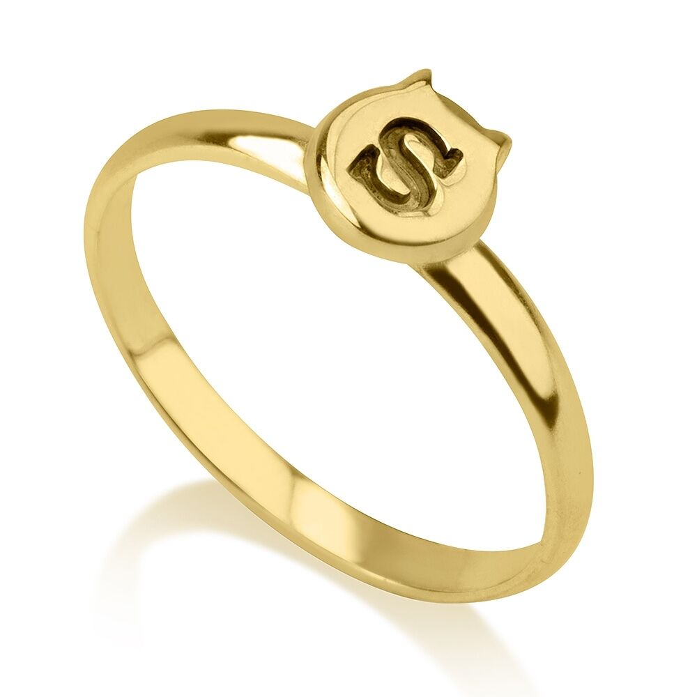 letter a gold ring new any initial cat midi ring 24k gold plated personalized 17510 | s l1000