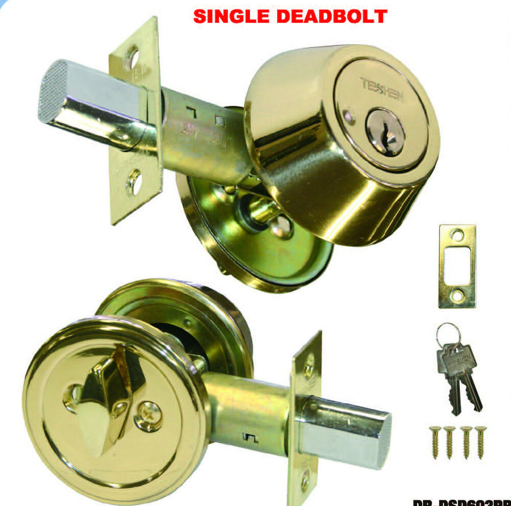 Deadbolt Single Cylinder Polished Brass Door Lock 2 Keys