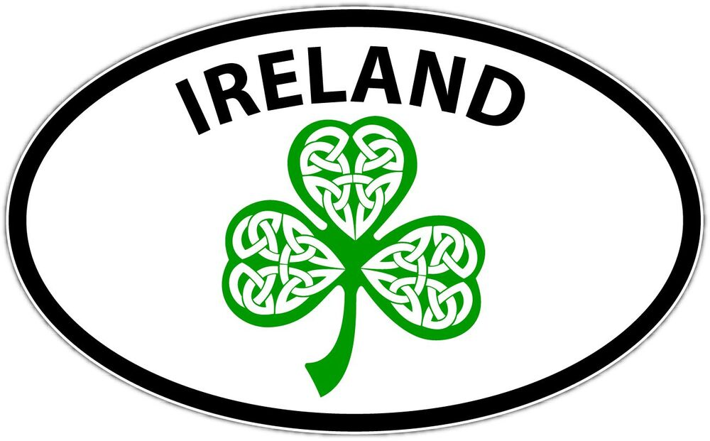 Ireland Irish Shamrock Celtic Dublin Oval Car Bumper
