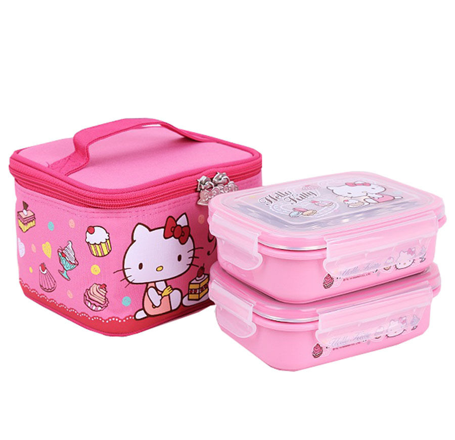 lock and lock hello kitty kids stainless steel lunch bento box food storage ebay. Black Bedroom Furniture Sets. Home Design Ideas