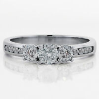 Three Stone/Pave set Diamond Engagement Ring 1.50,Ct Diamonds Set,14K White Gold