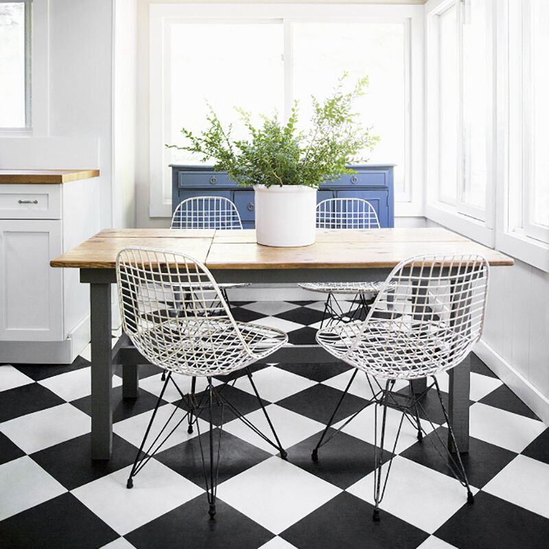Black Vinyl Kitchen Flooring: Chequer Board Non Slip Vinyl Flooring Lino Kitchen Black White Tile Cheap Tiles