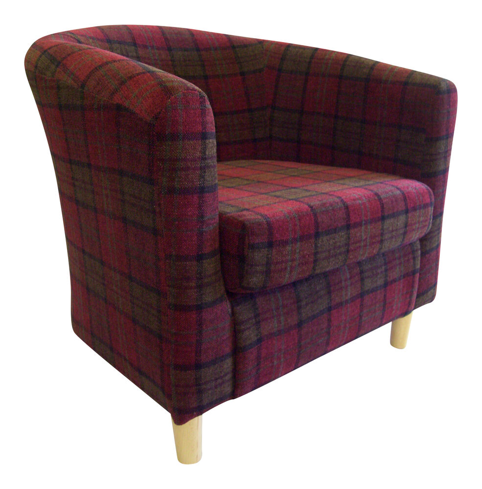 Tub Chair In Soft Lana Tartan Fabric 7 Colours