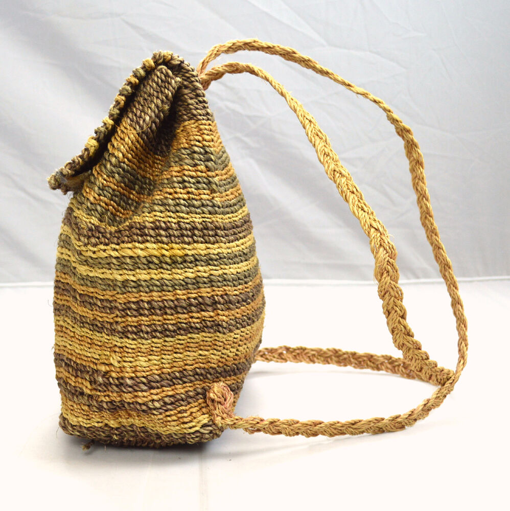 Hand Woven Braided Jute Straw Striped Hippie Backpack ...