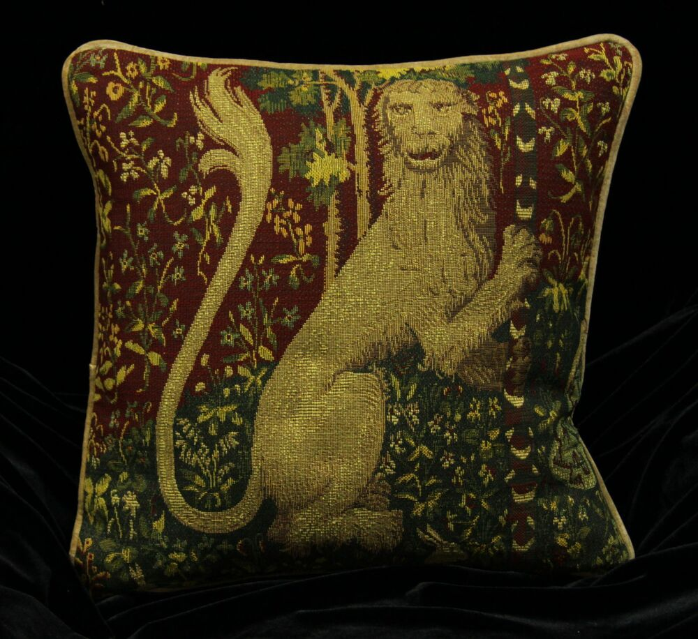 Piped Tapestry Scatter Cushion Cover Standing Lion 17 Quot Medieval Design Ebay