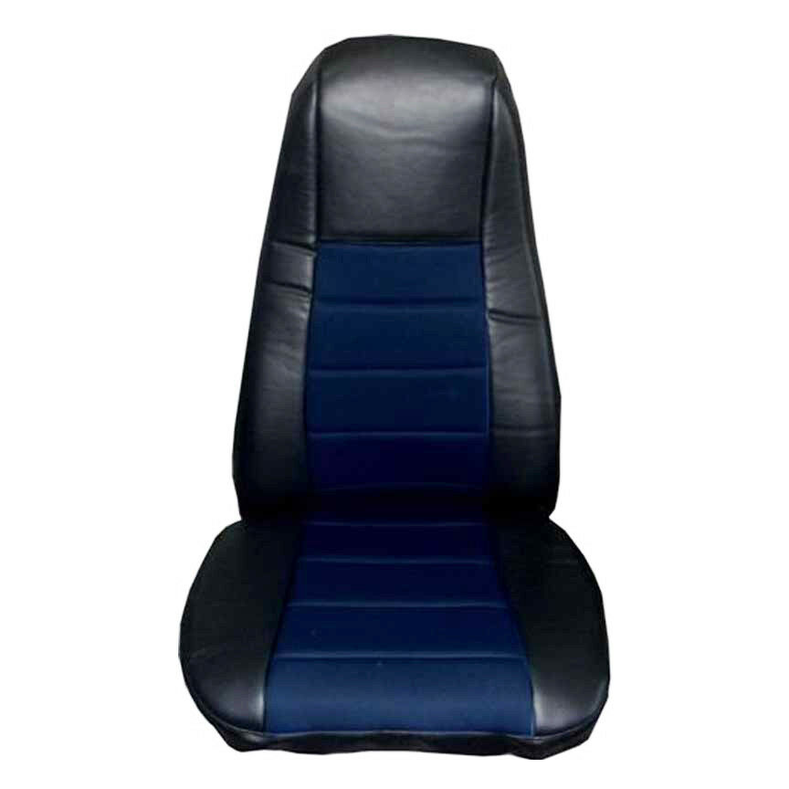 Heavy Truck Seat Covers : Seat cover w pocket black blue faux leather peterbilt