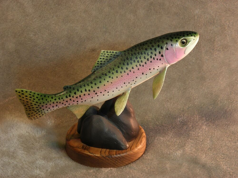 Original rainbow trout wood carving ebay