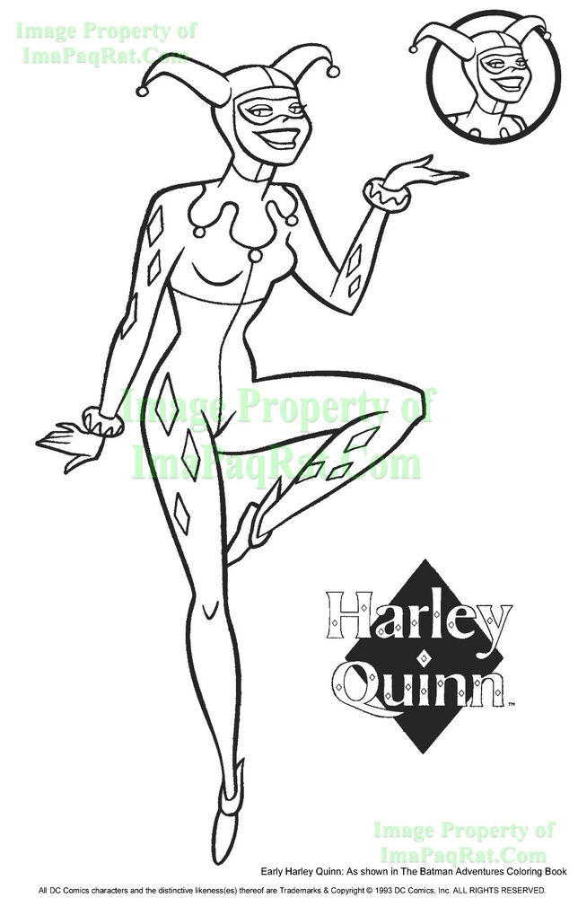 Harley Quinn 1 Page Print To Display W 1993 Batman Adventures Coloring Book