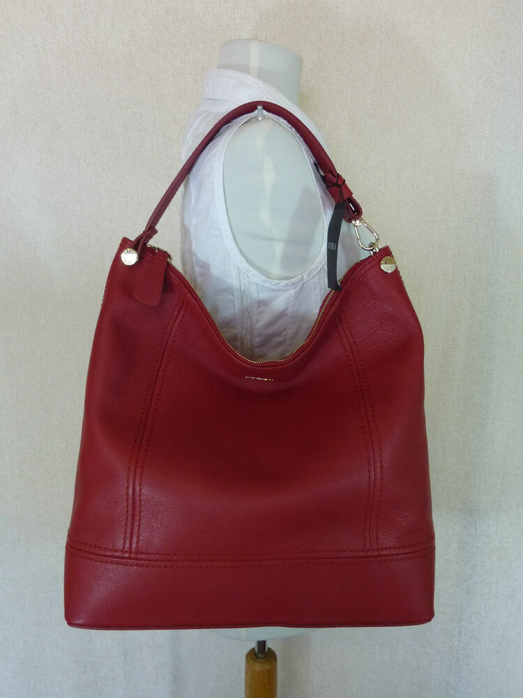 Nwt Furla Cabernet Red Leather Bonnie Hobo Tote Bag 398