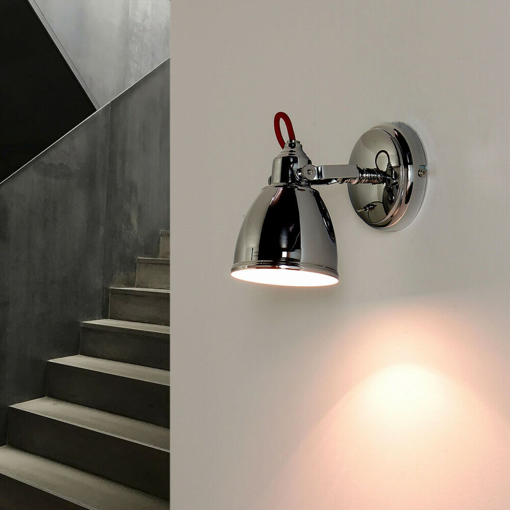 industrie wandleuchte wandlampe loft e14 wand lampe chrome retro leuchte fabrik ebay. Black Bedroom Furniture Sets. Home Design Ideas