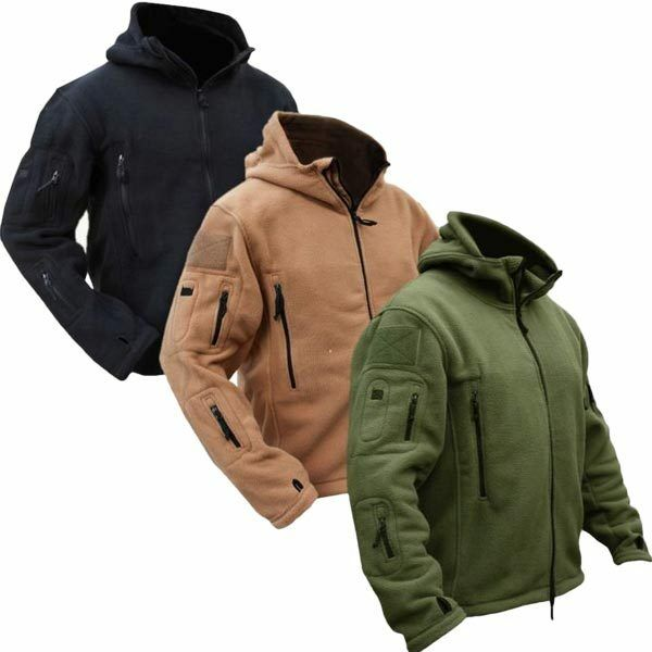 Men Tactical Military Winter Fleece Hooded Outdoor Jacket | eBay