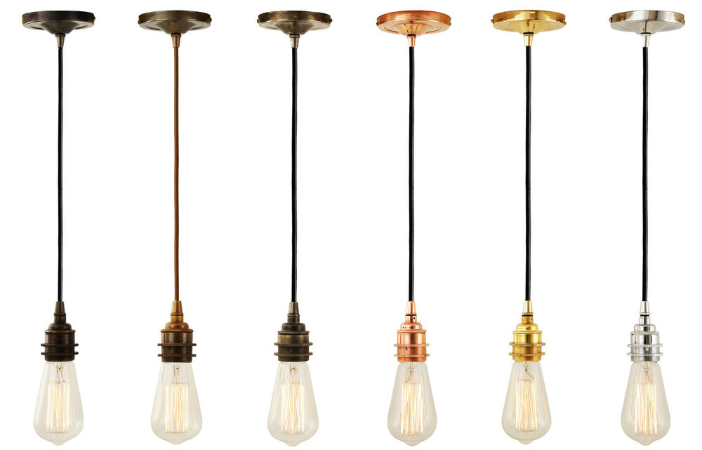 Fabric Cable Light Fitting Pendant With Brass E27