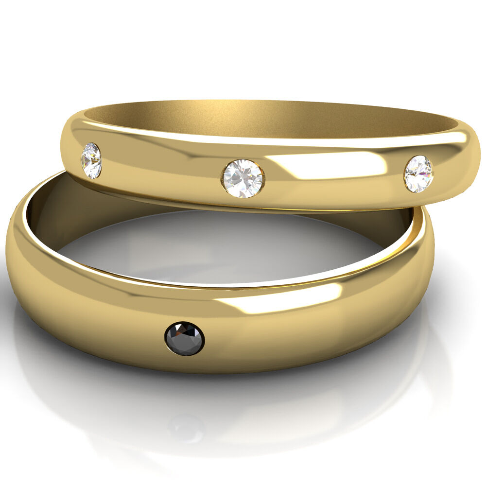 Wedding Rings His And Hers Black And White Diamond Set Bands Yellow Gold