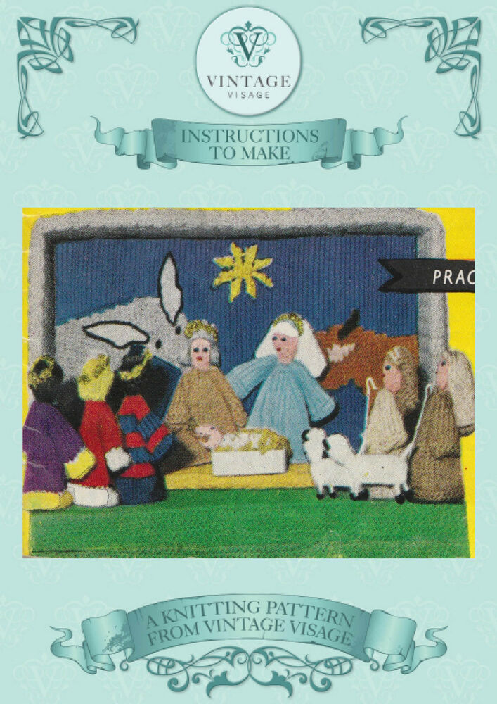 Knitting Pattern Christmas Crib Nativity Scene Booklet : Vintage Christmas nativity,crib, scene knitting pattern to make- free UK post...