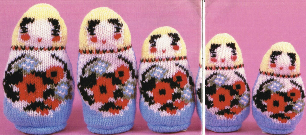 Knitting Pattern Russian Doll : Vintage Knitting pattern- set of 5 very sweet little ...