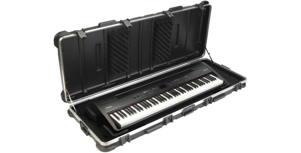 skb 88 note hard keyboard case w wheels for korg roland