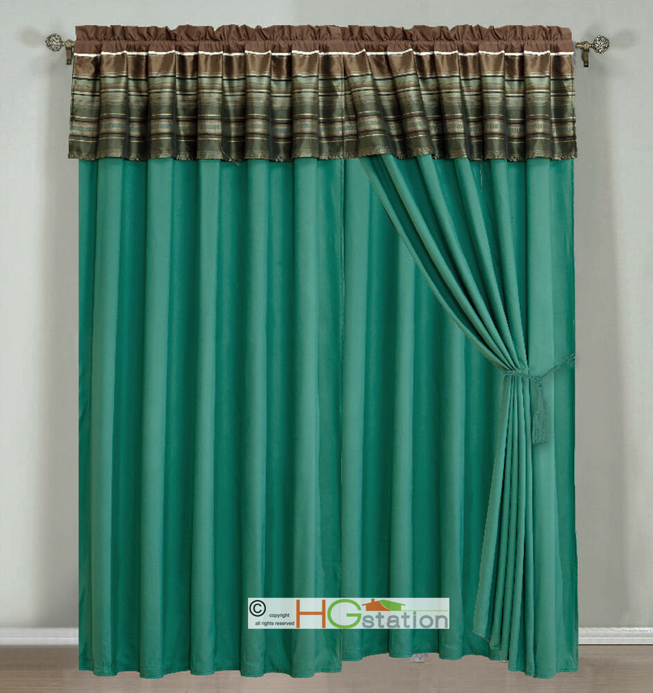 4 Pc Woodland Jacquard Striped Curtain Set Teal Brown
