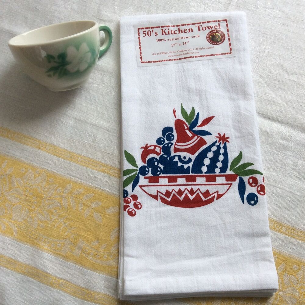 Retro Kitchen Linens: Retro Vintage Style Kitchen Flour Sack Towel '50's Style