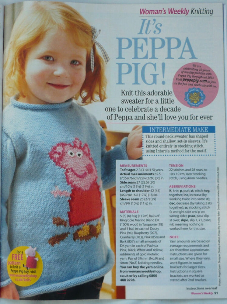 Knitting Patterns Peppa Pig Toys : Knitting Pattern for Peppa Pig childs jumper sweater. eBay