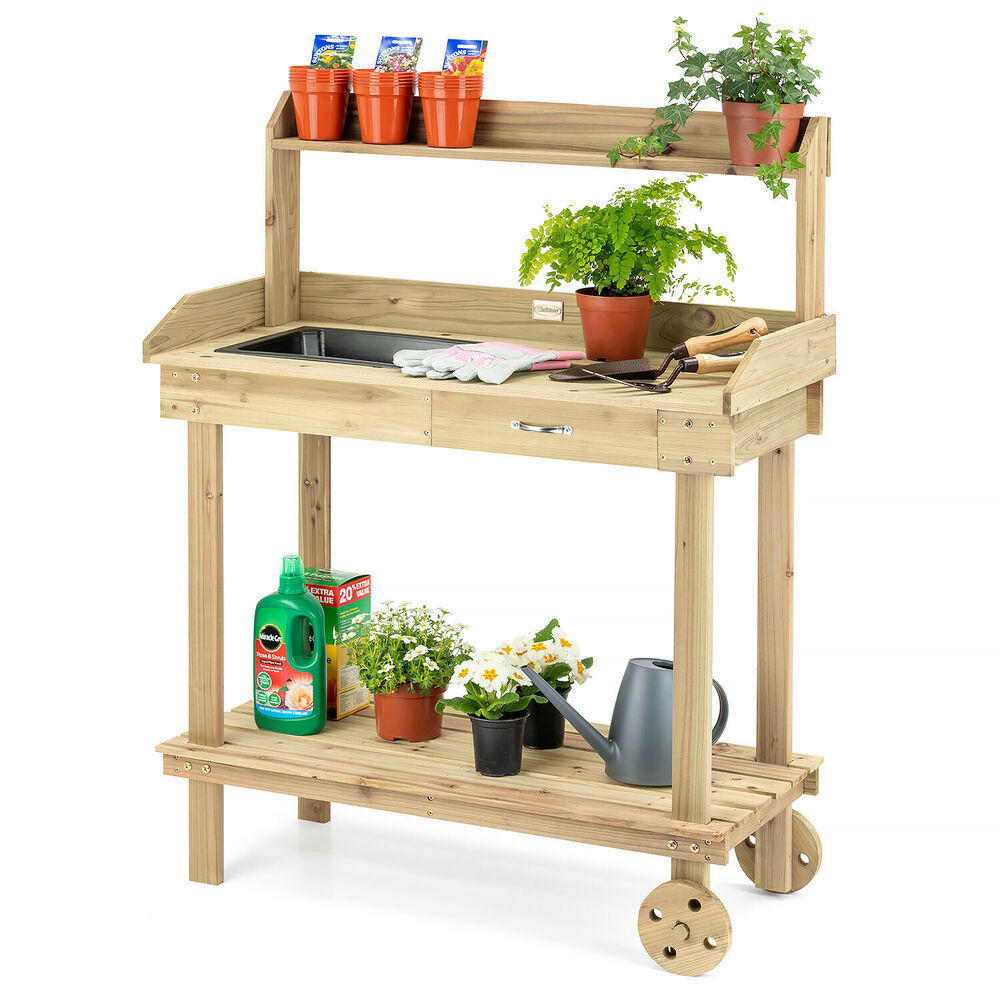 Wooden Potting Table Plant Flower Greenhouse Bench With
