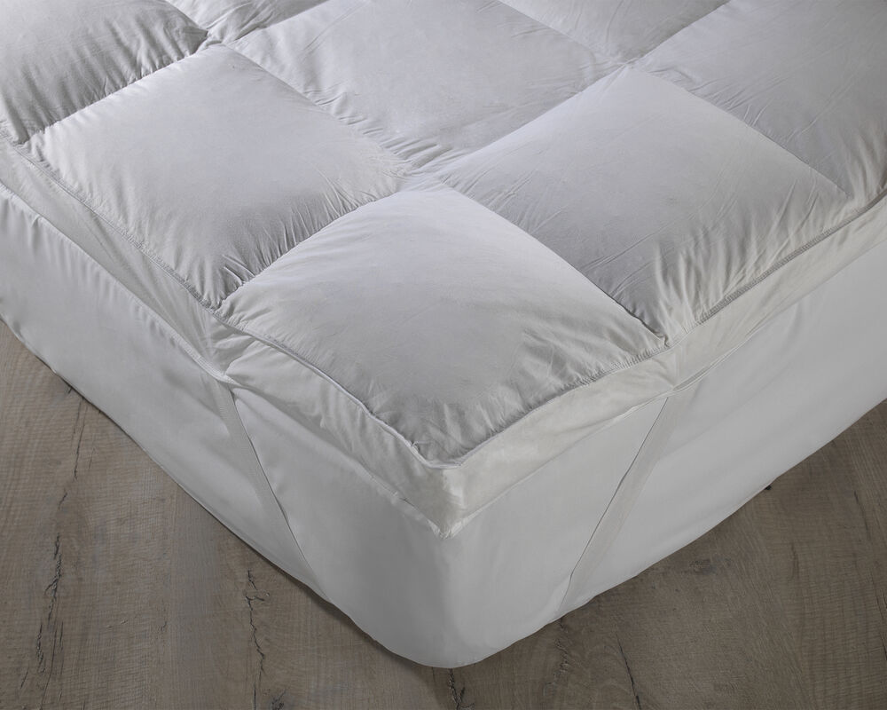 luxury extra thick duck feather mattress topper king size. Black Bedroom Furniture Sets. Home Design Ideas