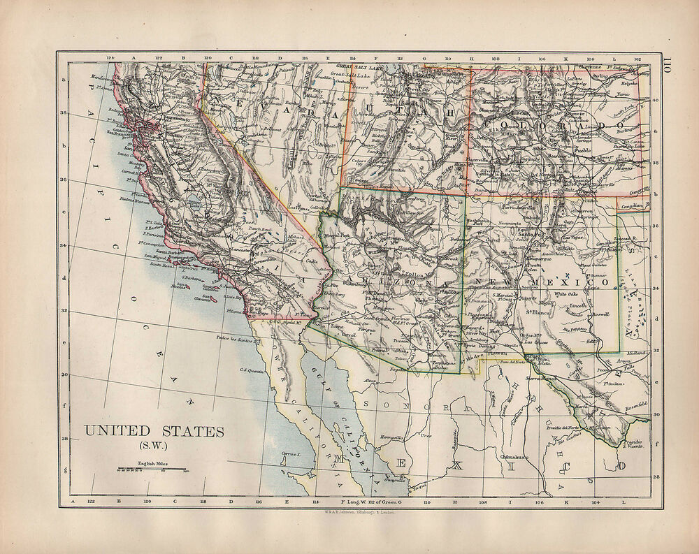 1902 map united states south west california arizona new for California chiude l utah