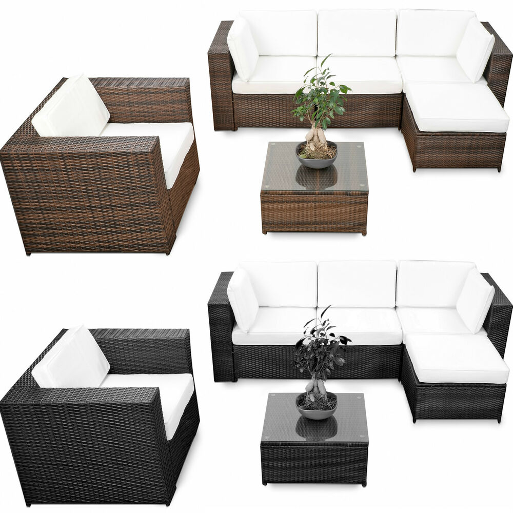 18tlg polyrattan gartenm bel xxl eck lounge m bel set sitzgruppe garnitur sessel ebay. Black Bedroom Furniture Sets. Home Design Ideas