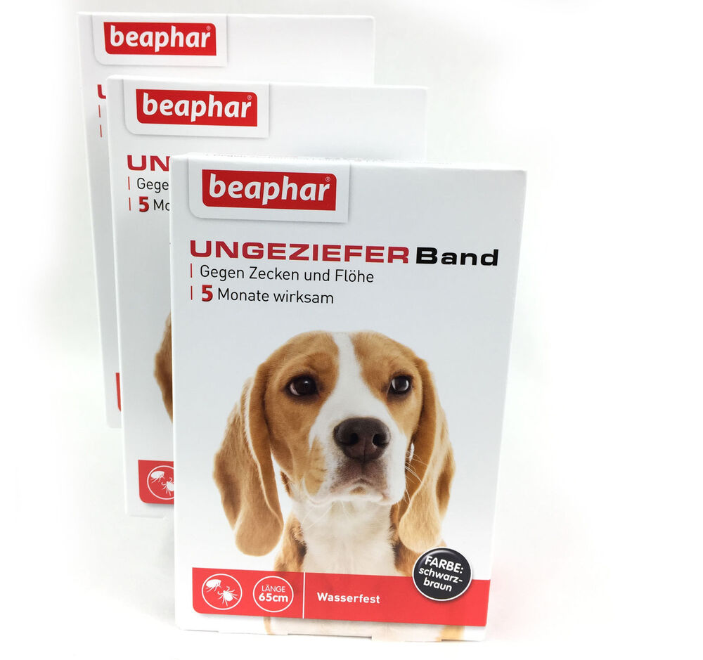 ungezieferband hund gegen fl he zecken 3 packungen von beaphar flohband ebay. Black Bedroom Furniture Sets. Home Design Ideas
