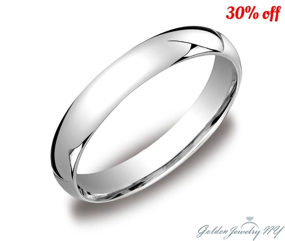 Mens Women Solid 10K White Gold Plain Wedding Band Comfort Fit 2MM 7MM