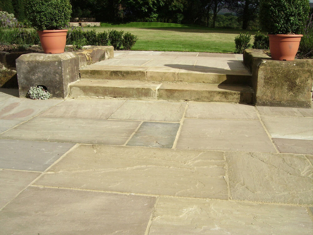 Indian sandstone patio paving raj green grey autumn brown for Green pavers