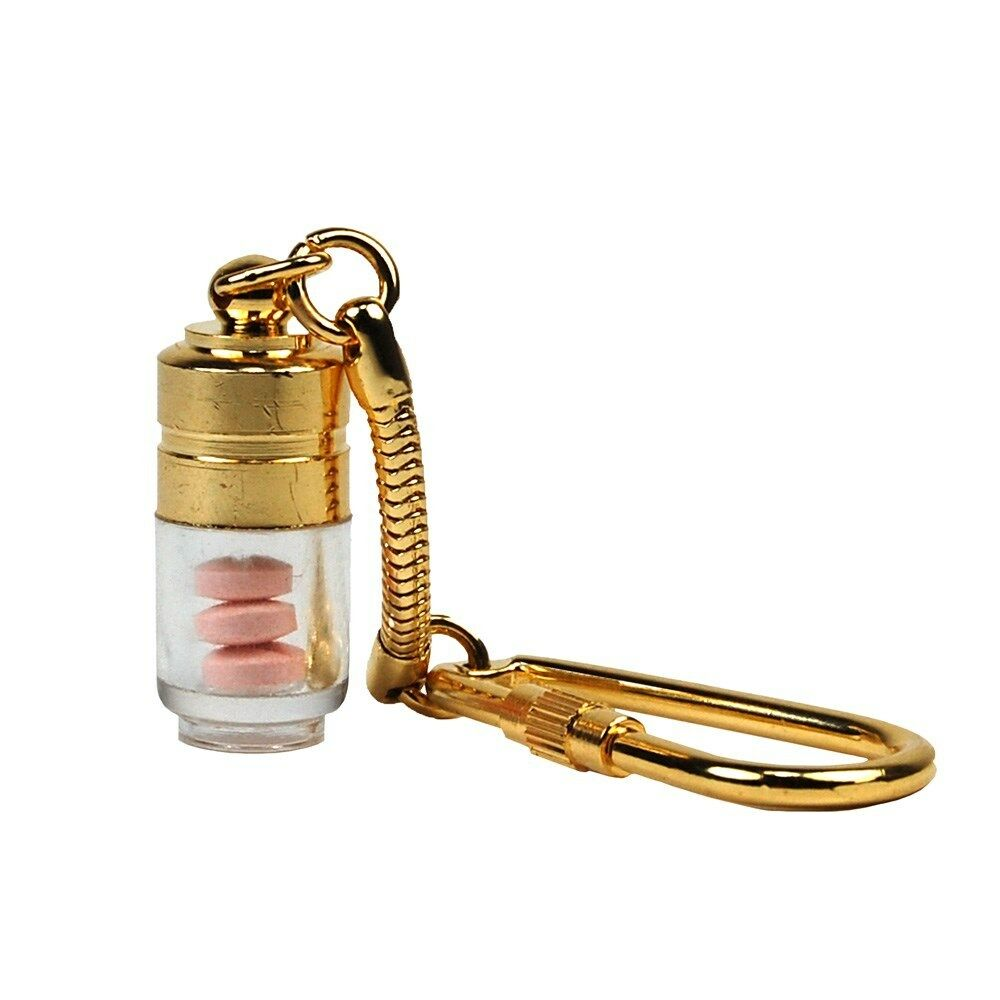 Gold Nitro Pill Fob Key Chain Small Medication Container
