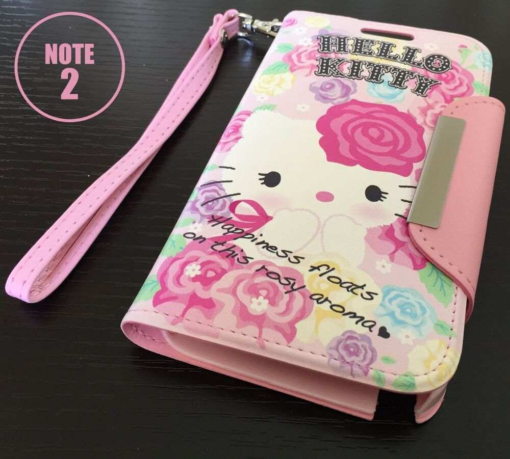 For Samsung Galaxy Note 2 HELLO KITTY ROSE LEATHER WALLET