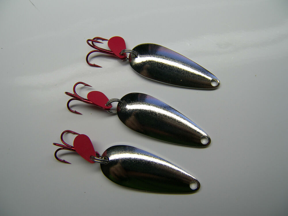 Silver spoon salmon trout steelhead lure jig spinner for Salmon fishing lures