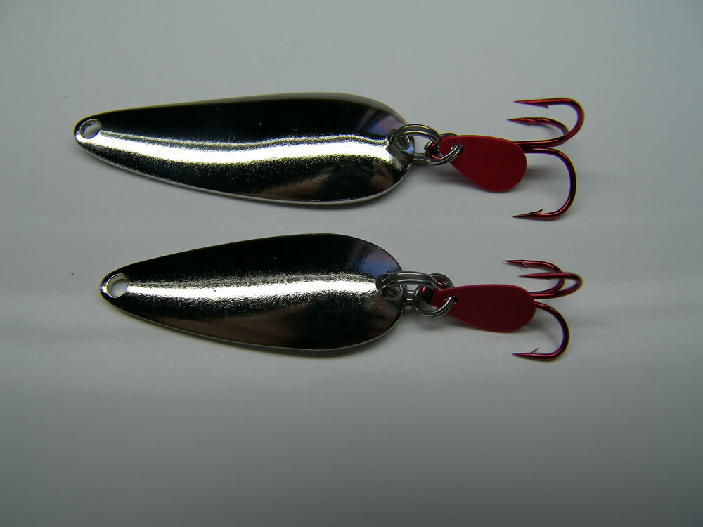 Silver spoon lot 2 salmon trout steelhead lure jig spinner for Salmon fishing lures