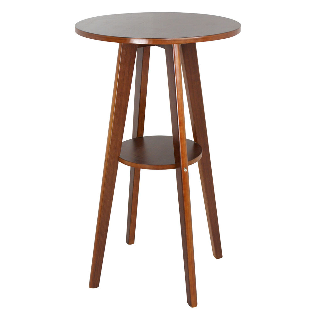 Modern Round Bar Table Walnut Wood Pub Counter Indoor