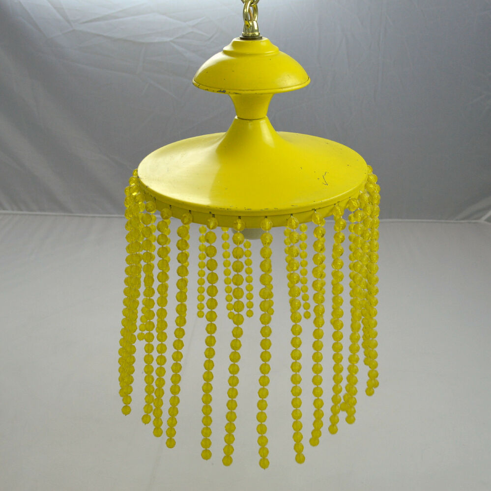 Vtg Yellow Retro Swag Hanging Light Lamp Bead String