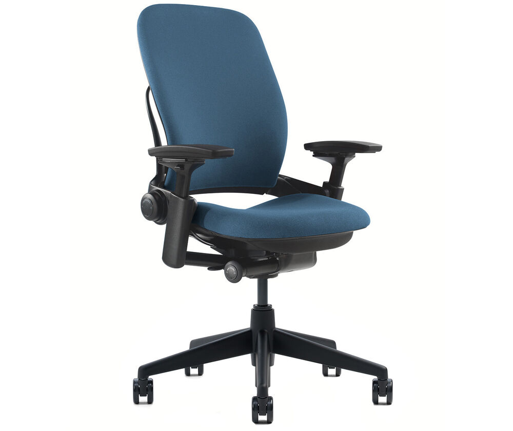 New Steelcase Leap Chair Adjustable V2 Buzz2 Blue Fabric