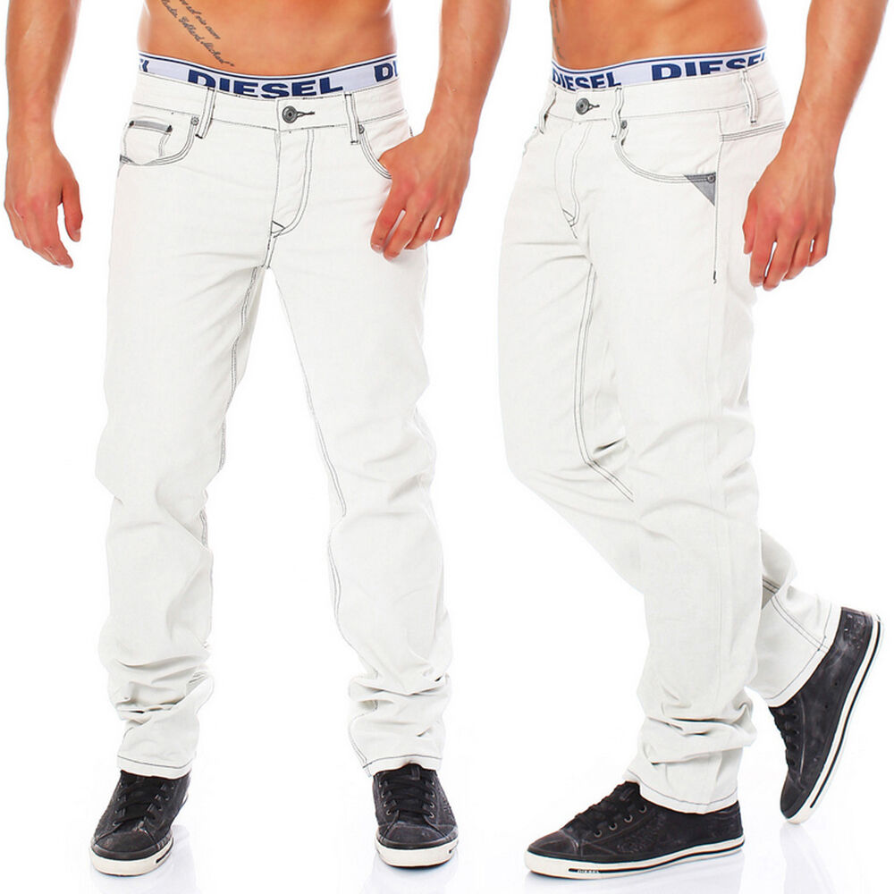 a00 herren jeans hose pant white weiss regular fit mit. Black Bedroom Furniture Sets. Home Design Ideas