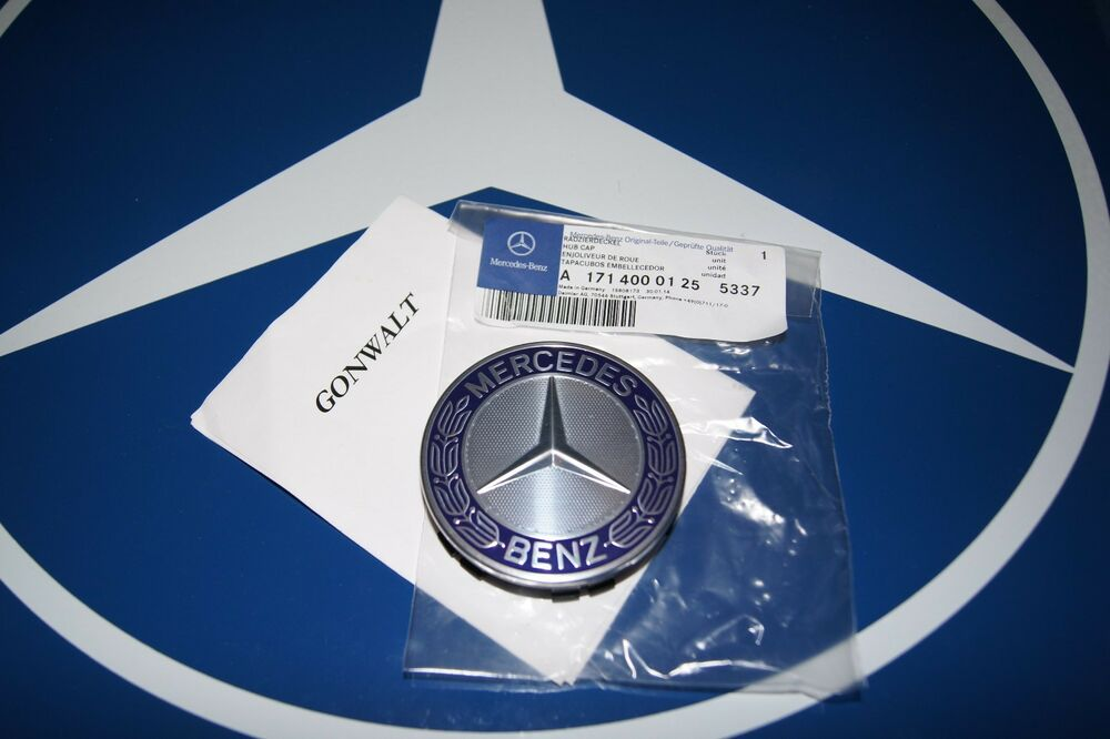 Mercedes Benz Genuine Metal Free Blue Center Hub Cap