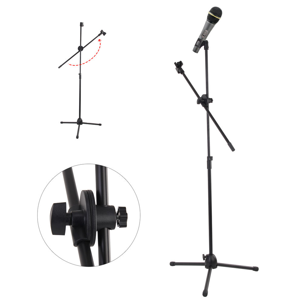 professional boom tripod microphone mic stand holder adjustable black 2 clips ebay. Black Bedroom Furniture Sets. Home Design Ideas