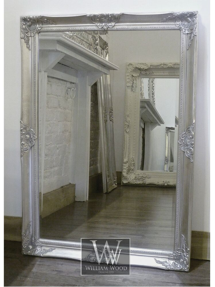 Gerona silver shabby chic rectangle vintage wall mirror 41 for Big silver mirror